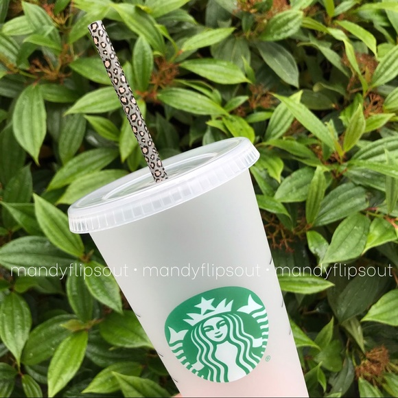 Starbucks Frosted Venti Reusable Cup Leopard Straw